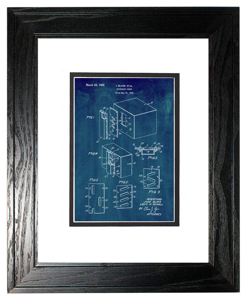 """Microwave Oven Patent Art Midnight Blue Print in a Black Pine Wood Frame with a Double Mat (20"""" x 24"""") M15866"""