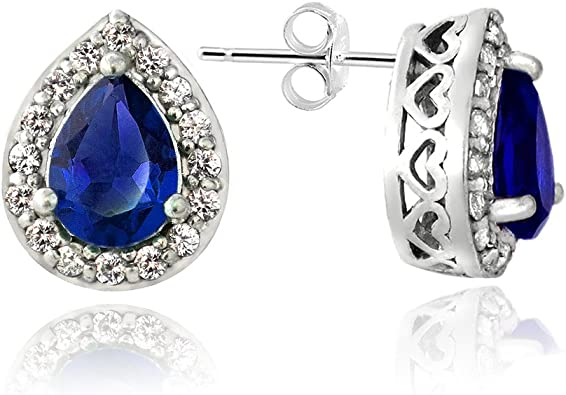 Sterling Silver Oval Synthetic Sapphire Post Stud Earrings