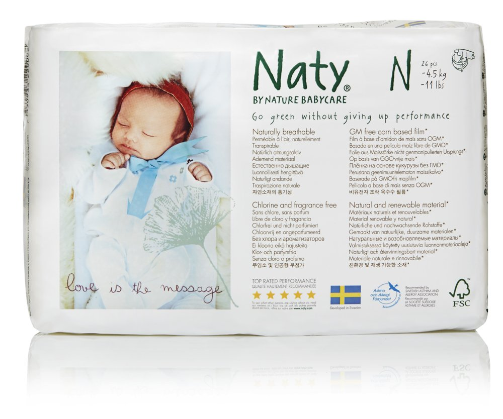 Naty by Nature Babycare Eco-Friendly Premium Disposable Diapers for Sensitive Skin, Size Newborn