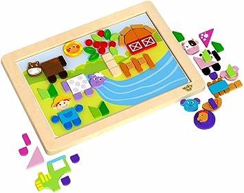 Tooky Toy - Puzzle magnético de construcción - Granja y Animales: Amazon.es: Juguetes y juegos