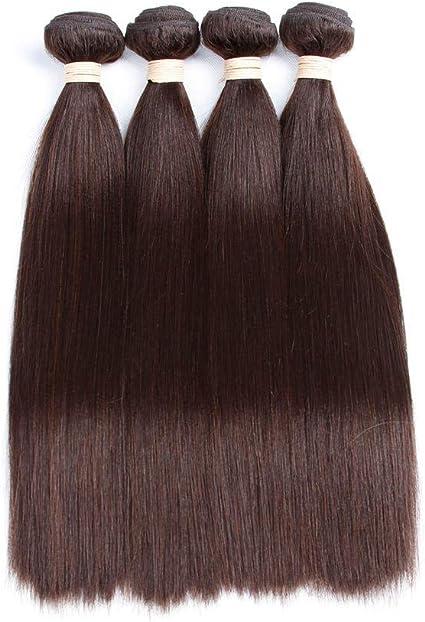 WIGU Paquetes de cabello lacio marrón oscuro 14 pulgadas ...