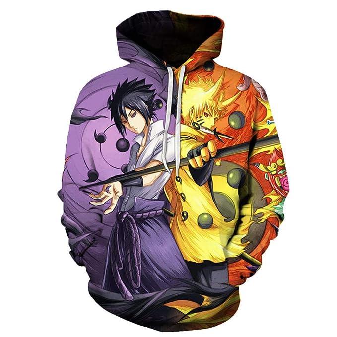 Q&S Sudadera con Capucha de Anime japonés Bicolor 3D Hombres ...