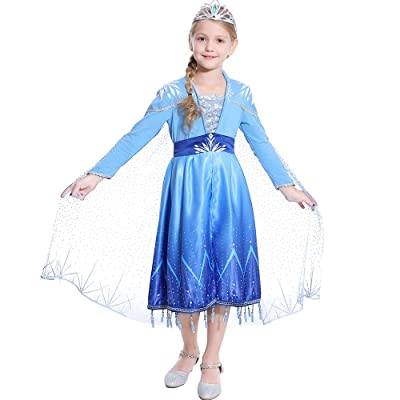 Dressy Daisy Girls Snow Ice Queen Princess Fancy Dress Up Costume Party Cosplay Halloween Christmas Birthday: Clothing