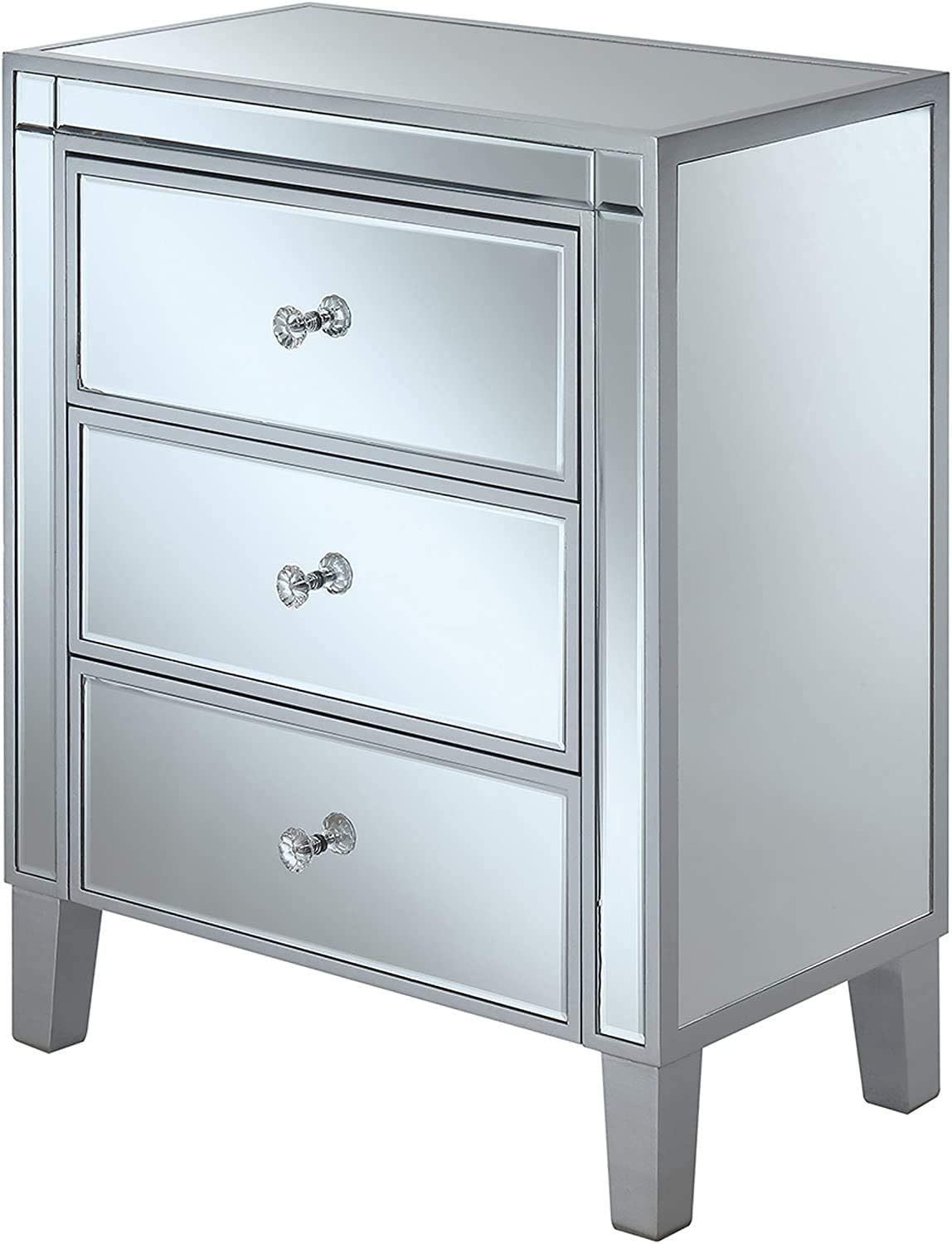 Convenience Concepts Gold Coast Large 3 Drawer Mirrored End Table, Silver / Mirror