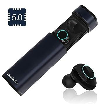 be738aae3d2 LeaderPro Auriculares In-Ear Mini Auriculares Bluetooth Inalámbricos TWS  5.0 CVC 6.0 con Micrófono y Caja de Carga Arranque automático Carga  magnética de ...