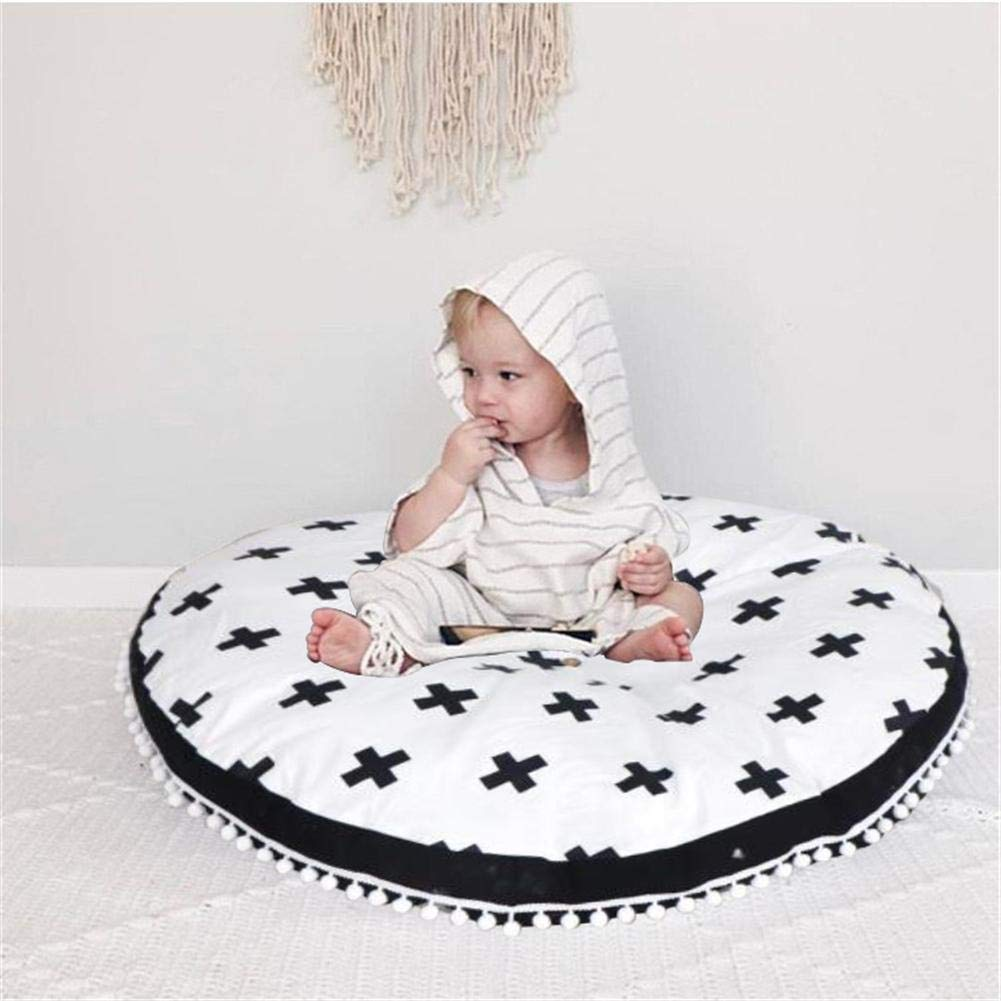 Baby Game Mat-Round Baby Crawling Cushion Mat Childrens Room Decoration Lace Super Soft Feather Cotton Padded Childrens Carpet by RED-EYE