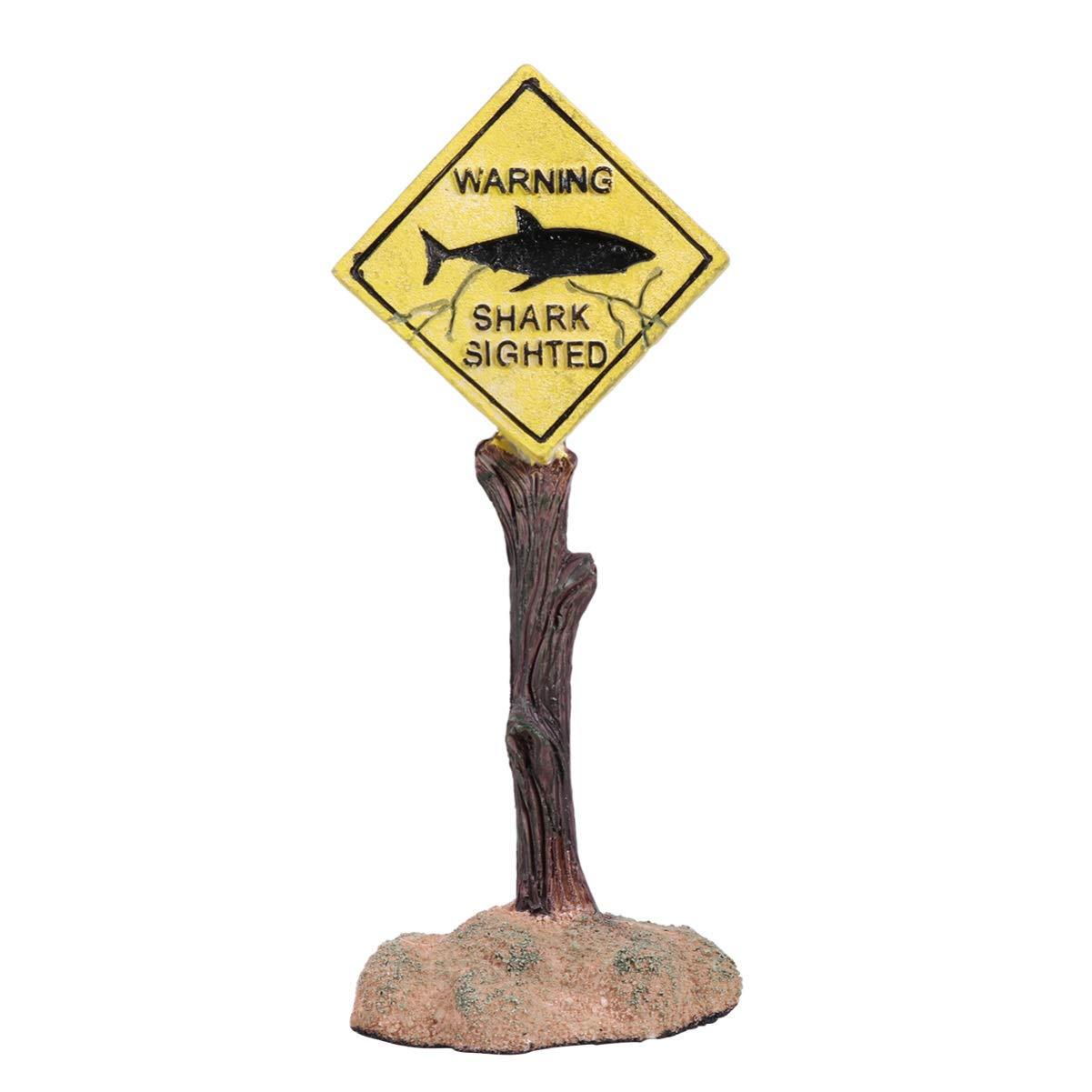 Balacoo Aquarium Funny Ornaments Shark Warning Signs Fish Tank Resin Decoration Craft Landscape DÃcor for Aquarium Fish Tank Home