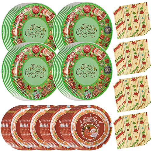 200PCS Christmas Party Supplies Paper Plates and Napkins Bulk 9 inch 7 inch Dessert Round Disposable Plates Green Red Eco Friendly Party Tableware Set (for Christmas -