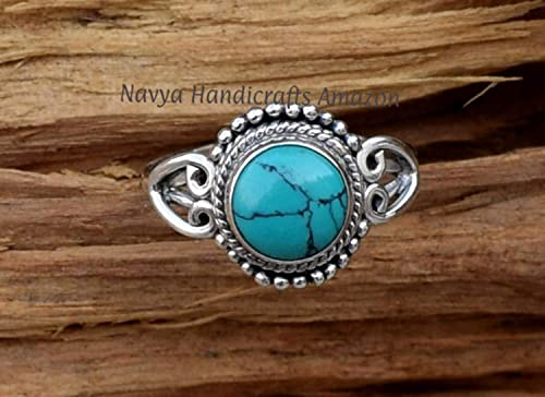 Turquoise and Sterling Silver Size 7 Ring