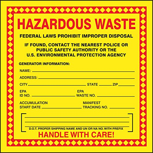 Accuform MHZW20PSP Adhesive Coated Paper Hazardous Waste Label, Legend