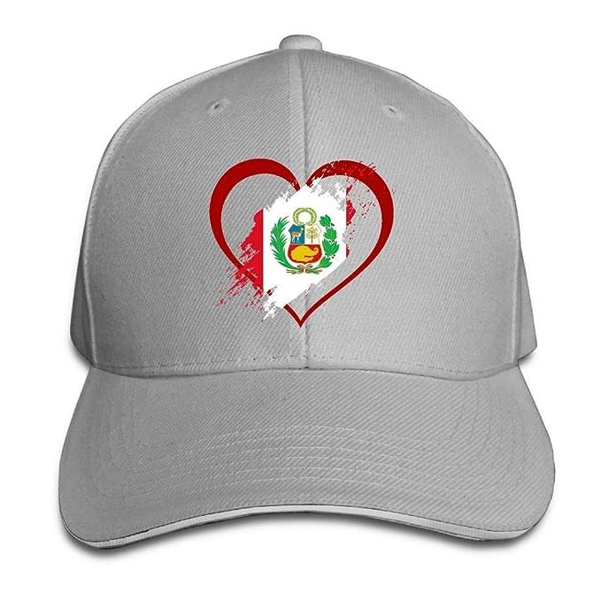 Presock Gorra De Béisbol,Gorro/Gorra Unisex Peru Flag Heart Shape ...