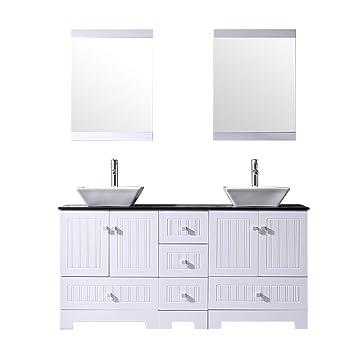 Bathjoy 60 White Double Bathroom Vanity Cabinets And Square Ceramic
