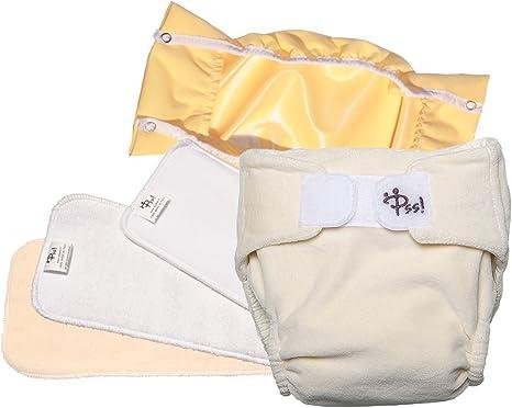 Pañales lavables ecológicos PSS! NATURE - Pañales de algodón con relleno extraíble - Kit de 2 pañales - Hecho en Italia: Amazon.es: Bebé