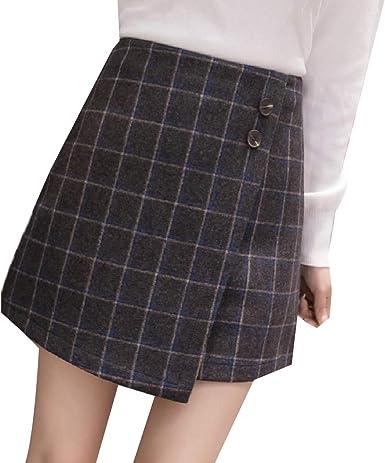 Andopa Comodidad tela escocesa cintura del imperio de lana corto ...