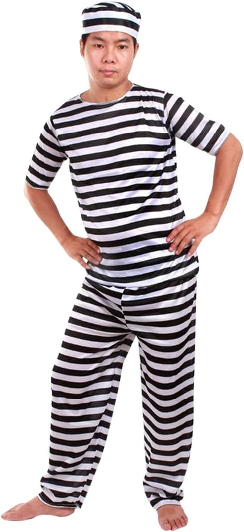 YUENA CARE - Disfraz de preso de Rayas para Adultos, de Manga ...