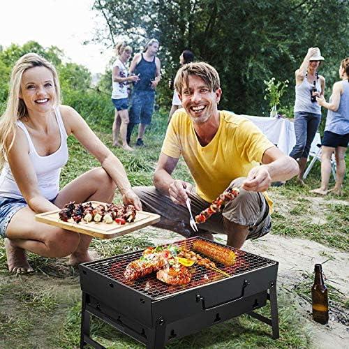 Portable Barbecue Barbecue Grill Charbon De Bois Table Pliable Four Amovible Cuisson Grille Jardin extérieur Barbecue pour 3-5 Personnes Camping Lili