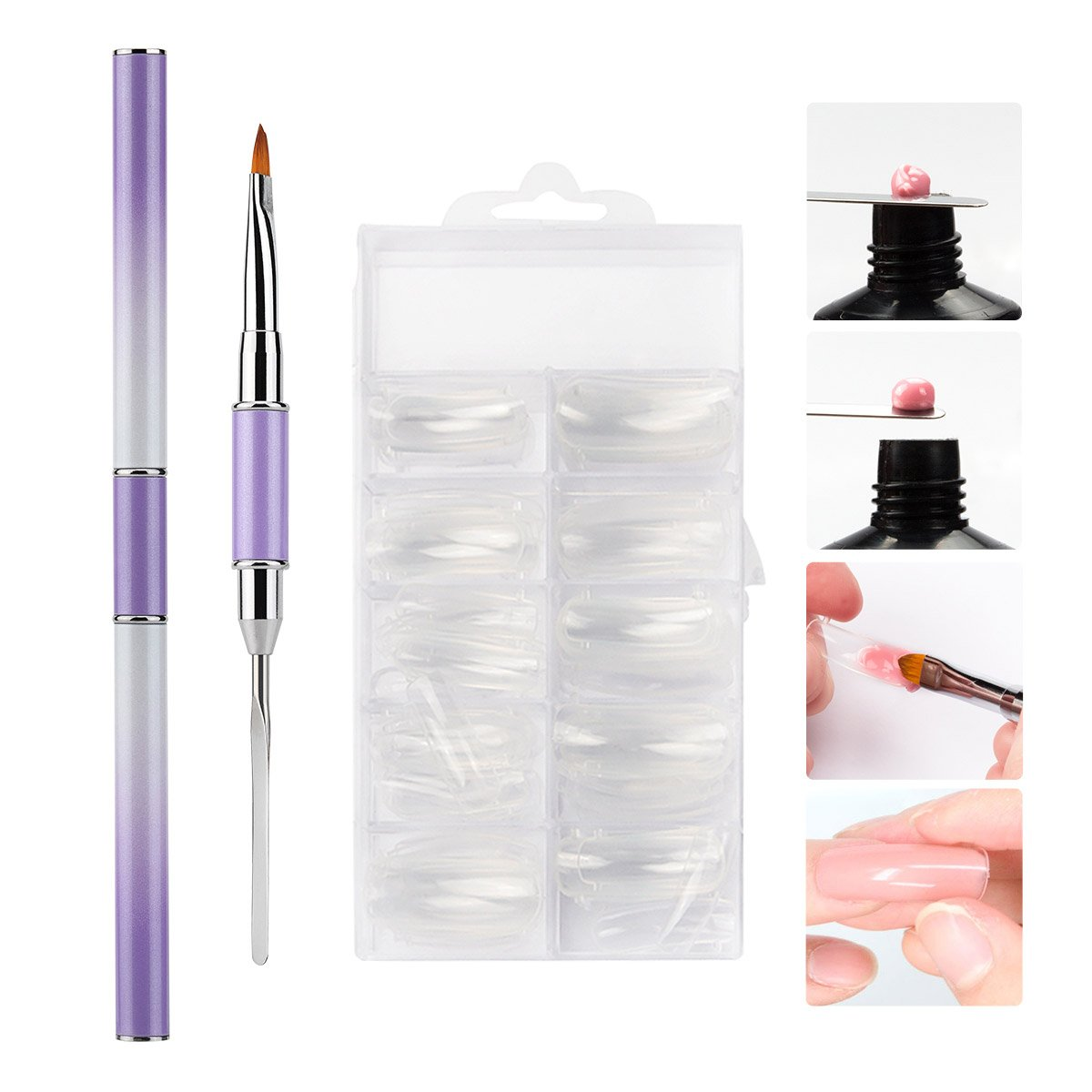 Vrenmol Poly Gel Nail Brush Dual-ended Slice Shape Tool with 100pcs Clear Dual Nail System Form Fake Nail Tips for UV Gel Nail Polish 10 Size by vrenmol