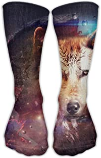 Wfispiy Psychedelic Wolf Mens Hip-hop 3D Print Sport BascketBall Socks