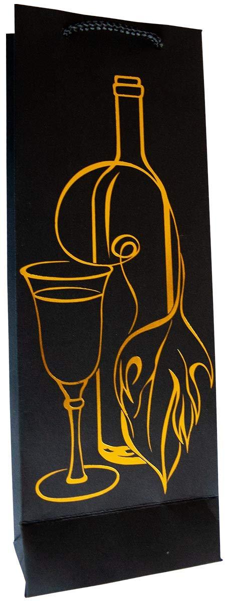 30 Geschenkt/üten schwarze Flaschent/üten Large 36x13x8 Flaschen /& Gl/äser 99-0144