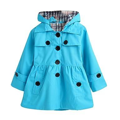 ada65f9b8 Amazon.com  LPATTERN Kids Girl Fall Winter Trench Dress Coat Peplum ...