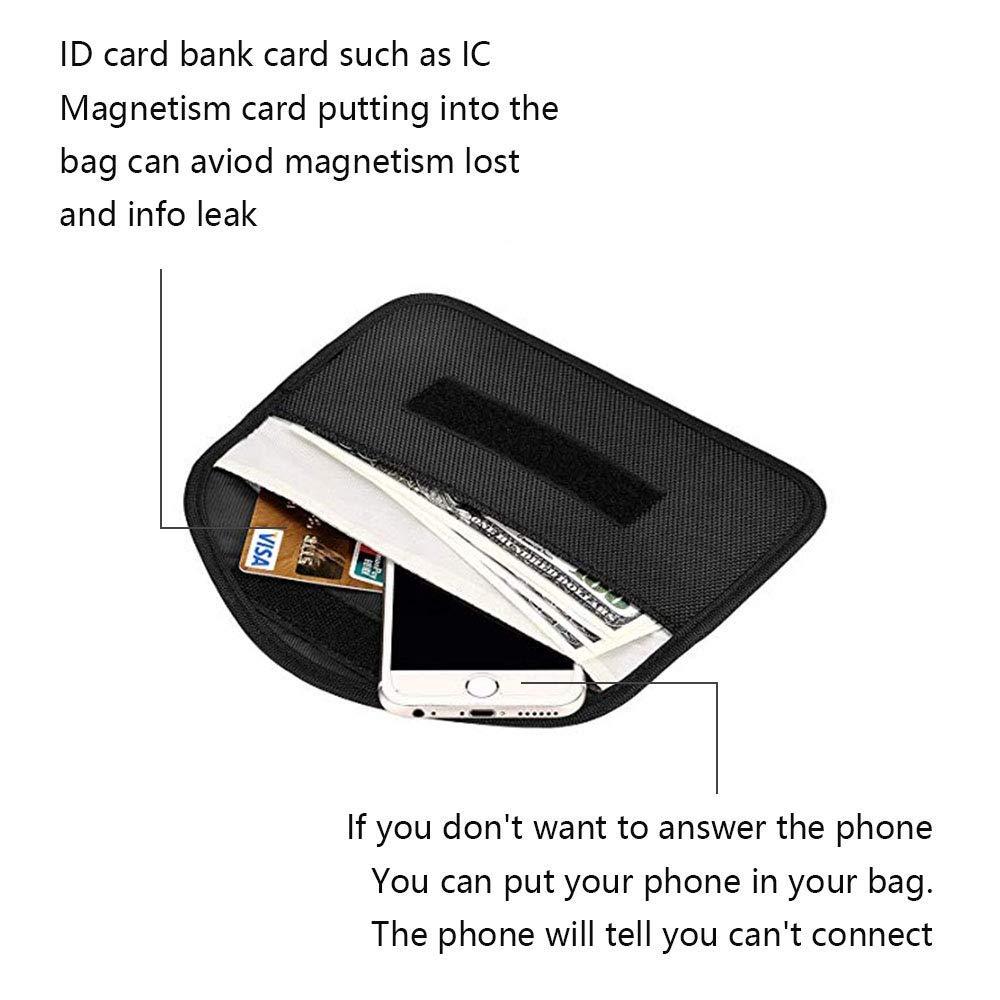 Blocks//GSM//LTE//RFID//WiFi INTSUN Large Key Fob Signal Blocking Bag Automobile RFID Blocking Holder Anti-Hacking Security Bag Car Key Signal Blocking Pouch for Cell Phone Credit Cards 2Pack