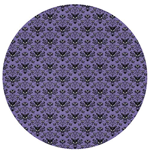 NEHomer Haunted Mansion Round Rug, Machine Washable Round Area Rug Non-Slip Mats Circular Mats Living Room Bedroom Office Soft Carpet Floor Mat (23.2 Inch)