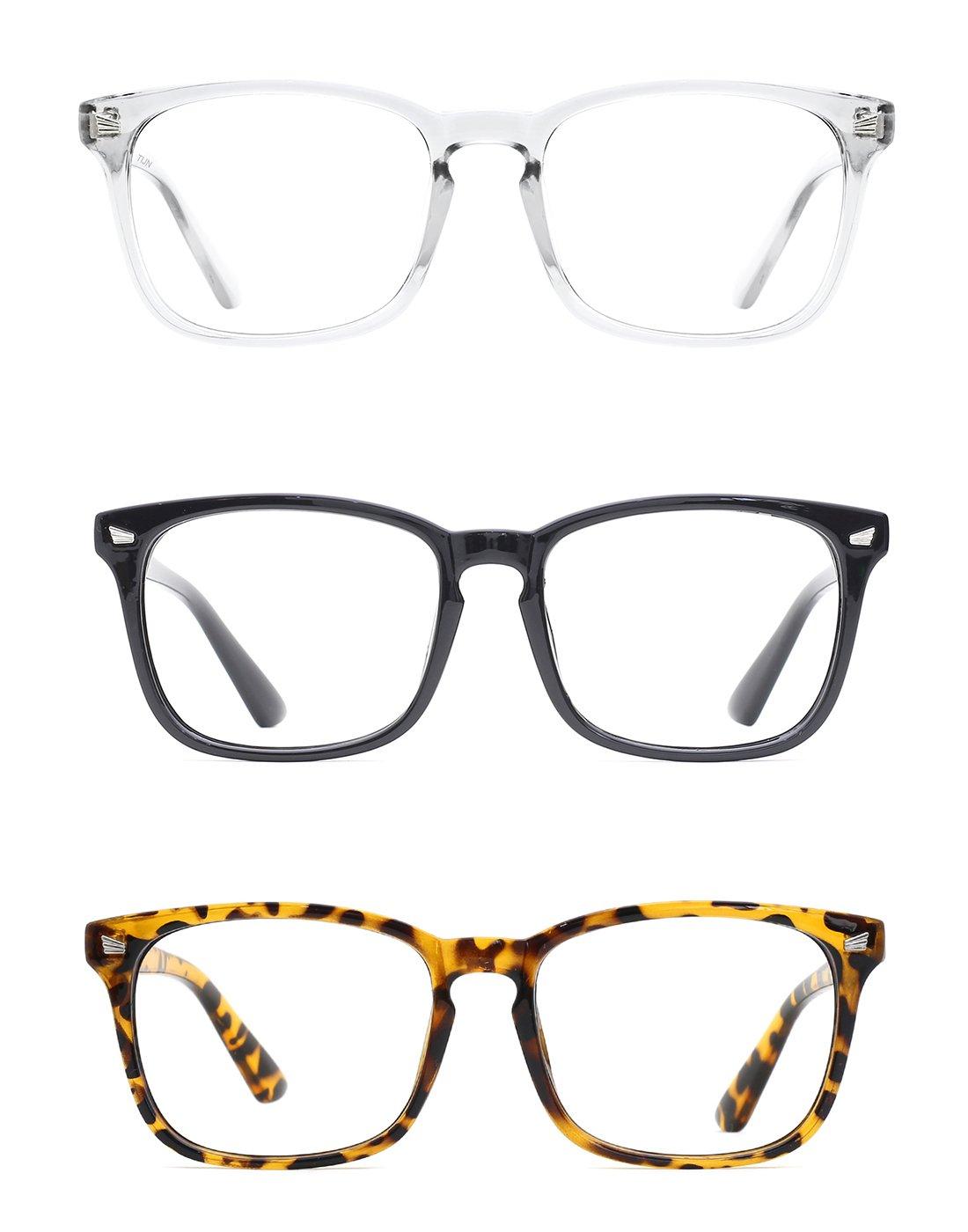 TIJN Unisex Non-Prescription Glasses Square Frame Clear Lens Eyeglasses 3-Pack (Transparent/Black/Jaguar) by TIJN