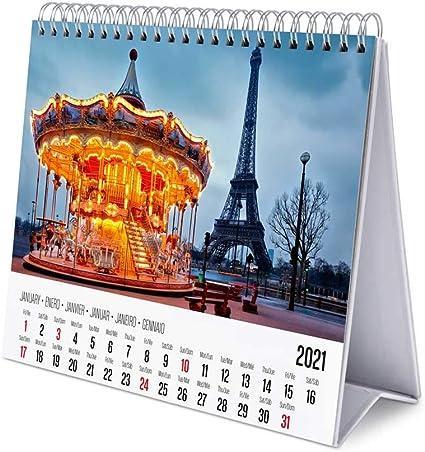 Rosa Grupo Erik Calendario da Tavolo 2021 Ana Mar/ín 20 x 18 cm calendario da scrivania 2021