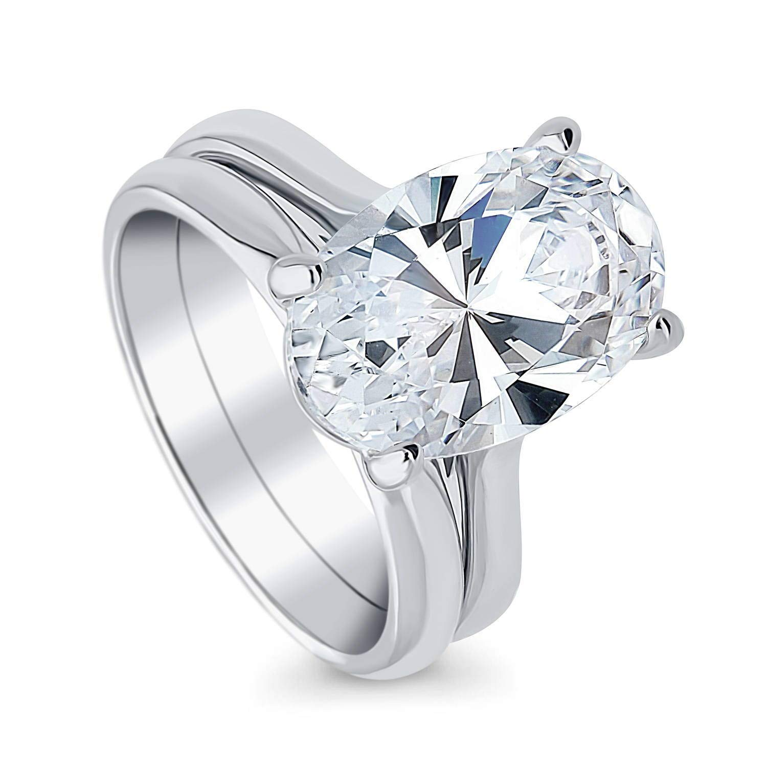 BERRICLE Rhodium Plated Sterling Silver Oval Cut Cubic Zirconia CZ Solitaire Engagement Wedding Ring Set 5.5 CTW Size 9