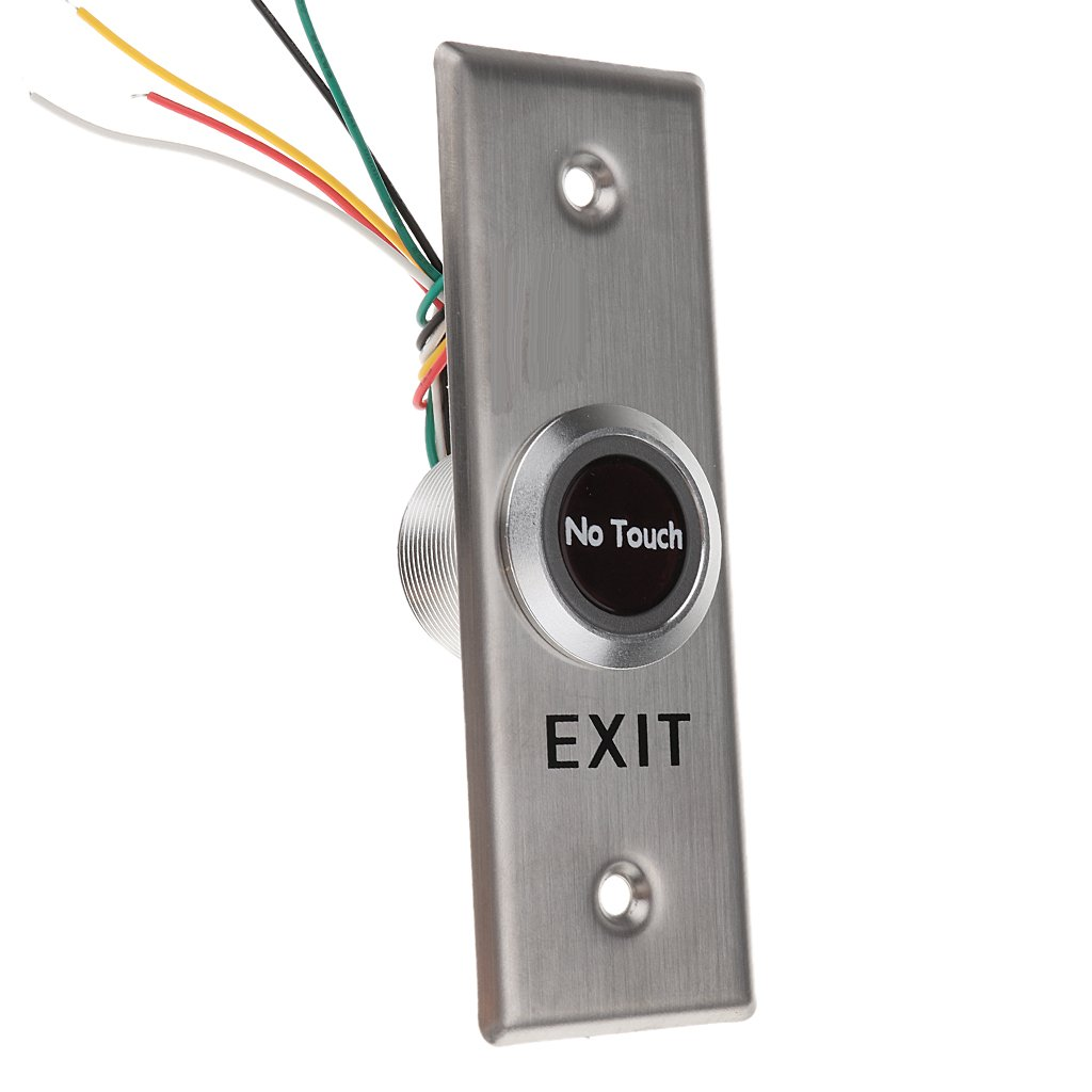 Baoblaze 12V DC Door Infrared No Touch EXIT Button Switch Sensor with LED Backlight, Stainless Steel,115x40mm #SNT40