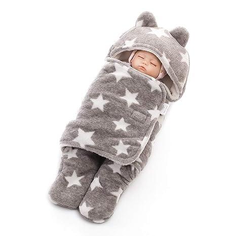 Decdeal Saco de Dormir de Piernas Separadas para Bebé Envoltura Suave y Cálida Coral Fleece con