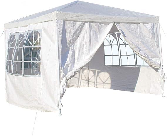WilTec Carpa de jardín con Elementos Laterales Desmontables 3x3m Blanca con Ventanas Cenador para Exterior: Amazon.es: Deportes y aire libre