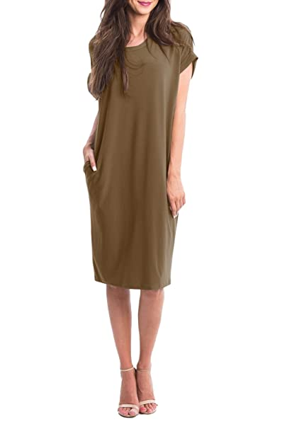 b154bc78f9f7 Imily Bela Womens Casual Short Sleeve Dress Plain Loose Summer Midi ...