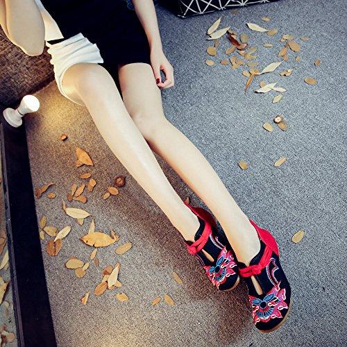 Da Comodo Stile Ricamate Moda Etnico Suola Donna Ming Casual Scarpe Dell'aumento Tendina All'interno Black A 0Uvwqf