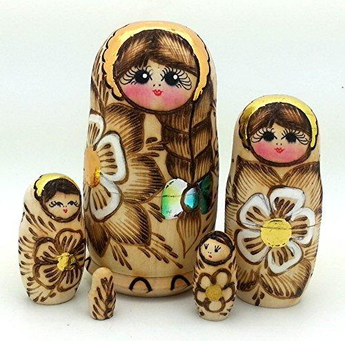 [Russian nesting dolls Wood Burned 5 piece DOLL Set 4