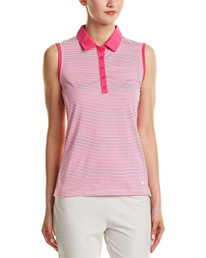 bad34b4b Amazon.com: Nike Golf Women's Dry-Fit Stripe Polo Shirt Pink White ...