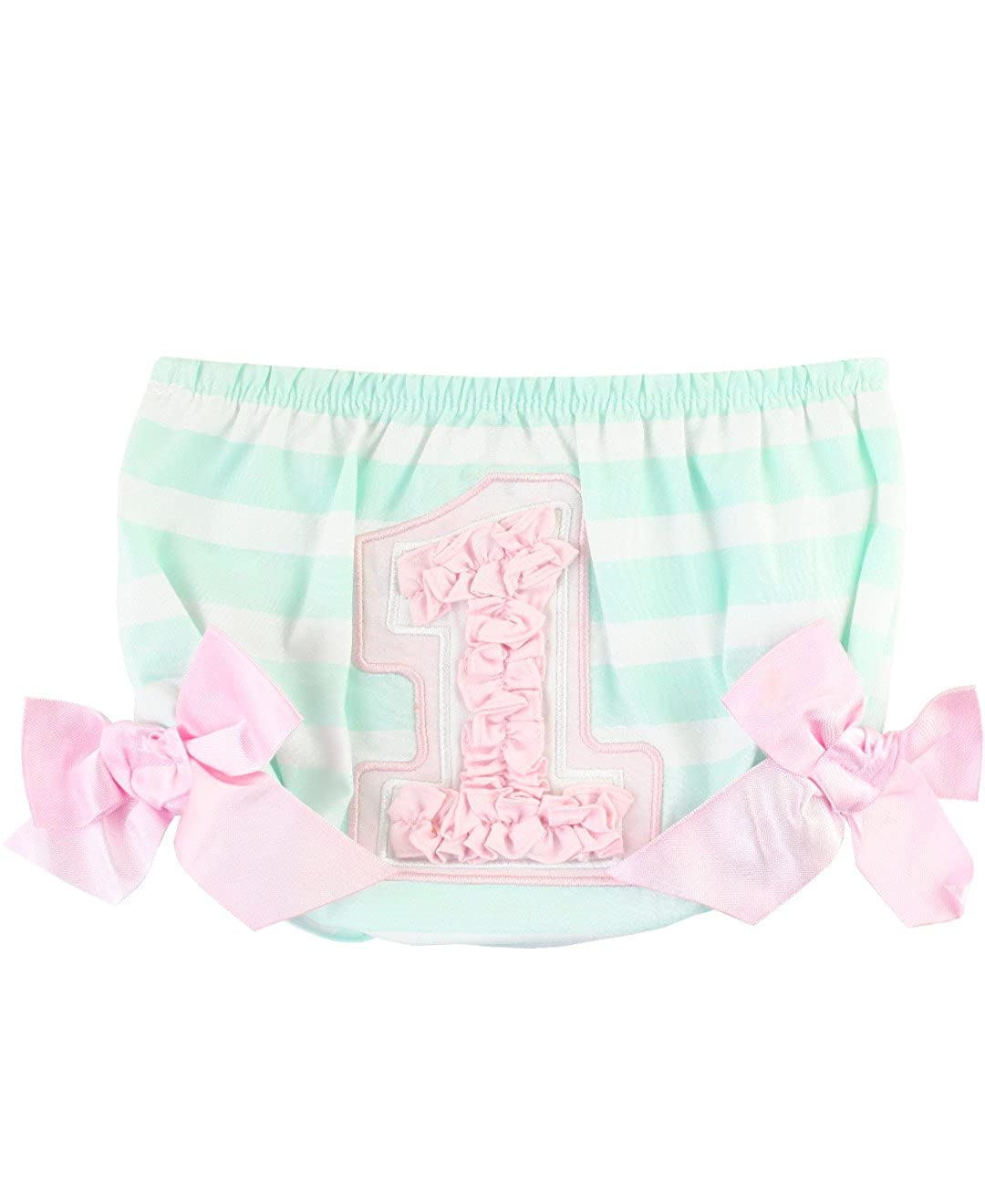 RuffleButts Baby/Toddler Girls Sateen Striped 1st Birthday Bloomer w/Bows RBWAW12-PB10