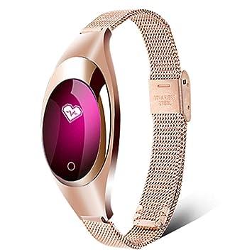 LJSHU Reloj Inteligente para la Mujer Presión Arterial Oxígeno sanguíneo Monitoreo de la frecuencia cardíaca 10 Tipos de Brazalete Deportivo Funcional,Gold: ...