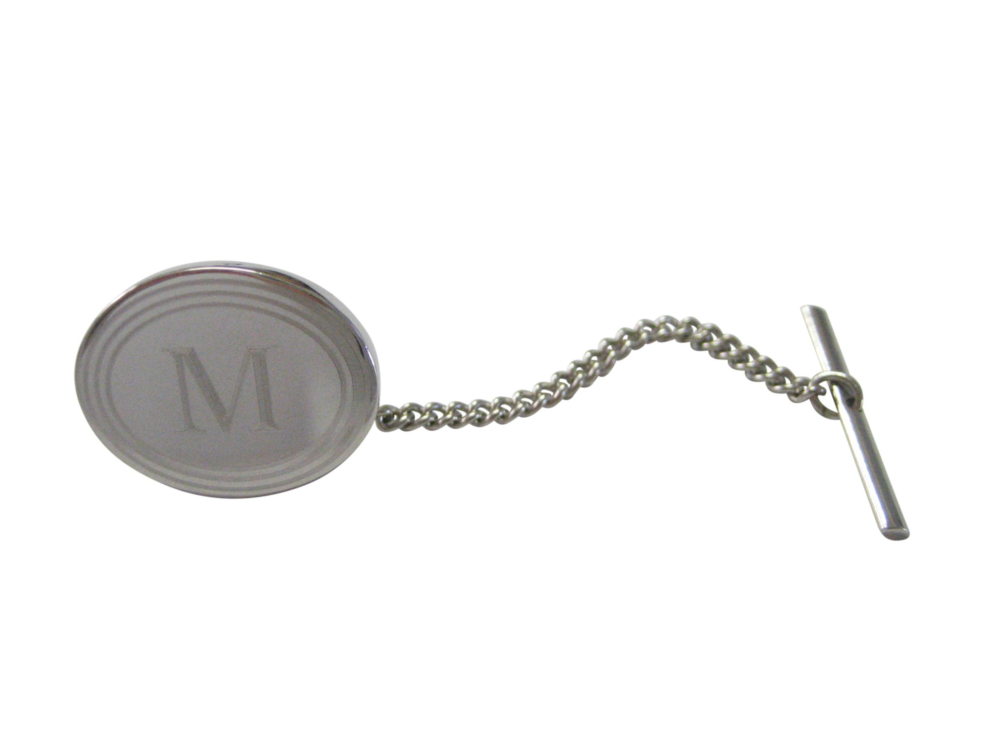 Silver Toned Etched Oval Letter M Monogram Tie Tack
