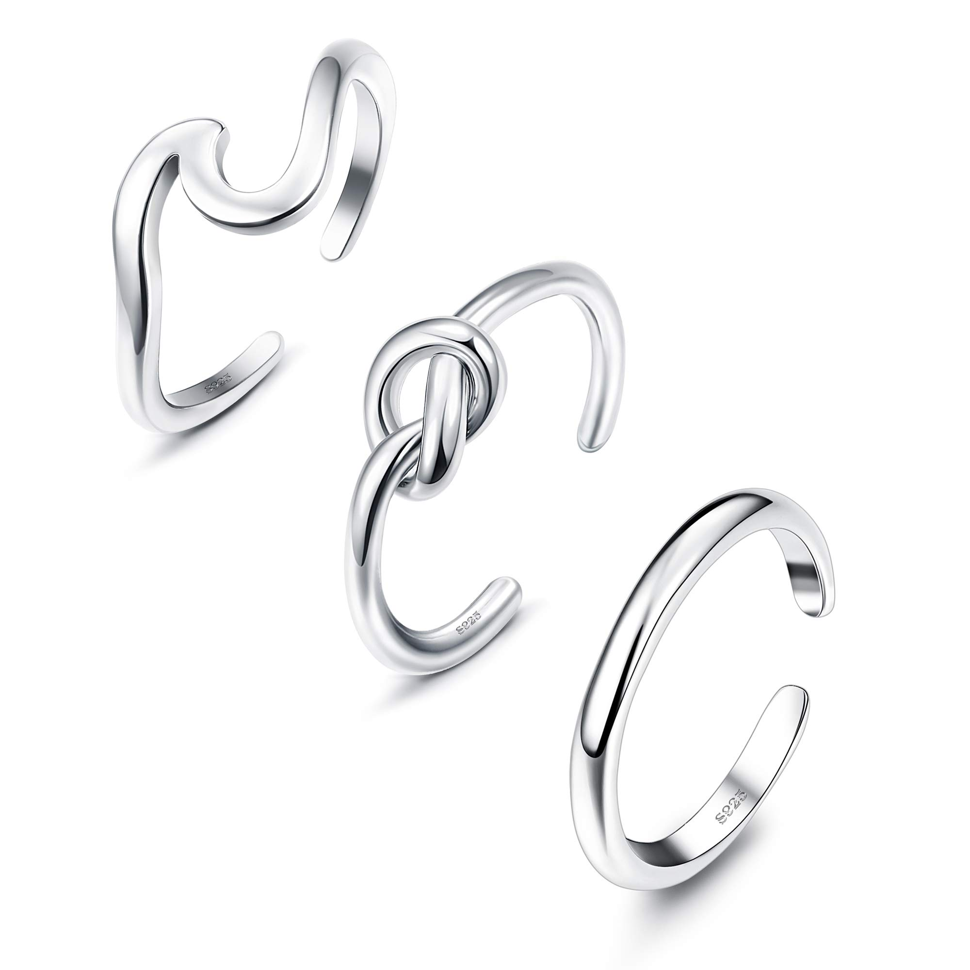 JOERICA 3PCS 925 Sterling Silver Toe Ring for Women Girls Adjustable Minimalism Wave Arrow Band Toe Rings Set Foot Jewelry by JOERICA
