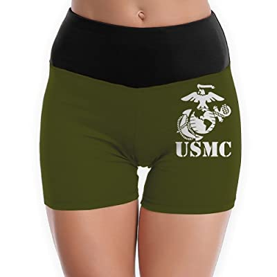 MANBAHUDONG Eagle Globe Anchor USMC Marine Corps - Women's Yoga Shorts Gym Shorts Boy Cut Foldover Shorts