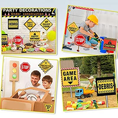 YANSHON 12 Pack Construction Birthday Party Supplies, Party Traffic Signs Cutouts, Construction Party Tape, Dump Truck Decorations for Kids Birthday Party: Toys & Games