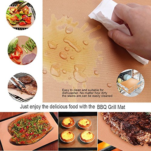 Bake Mat Set of 5 Non Stick BBQ Grill & Baking Mats - Reusable, Easy to Clean - PTFE Teflon Fiber Grill Roast Sheets for Gas, Charcoal, Electric Grill Gold (with 2 Brushes) by EEIEER (Image #5)