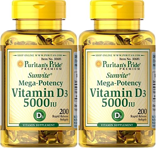 400 Softgels Puritan's Pride Mega-potency Vitamin D3 5000iu , Made in USA
