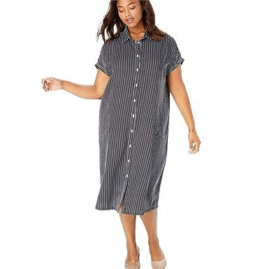 e3b333ecf21 Woman Within Plus Size Midi Shirtdress at Amazon Women s Clothing store