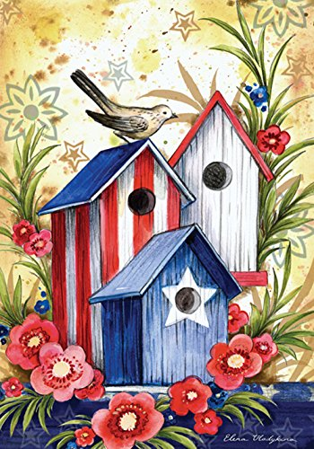 Americana Birdhouse Garden Flag - Toland Home Garden Birdhouse Trio 12.5 x 18 Inch Decorative Colorful Patriotic Summer July 4 USA Bird Garden Flag