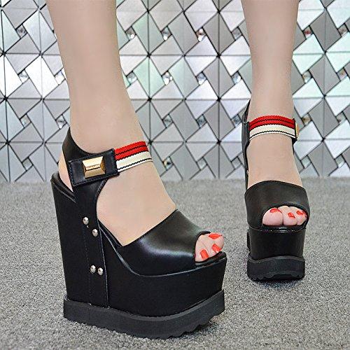 negro de con Sandalias 33 15 tacón de espesor centímetros XiaoGao 137 pFnRqOx