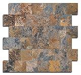 """backsplash for kitchen Yipscazo Peel and Stick Tile Backsplash, PVC Rusty Slate Backsplash Stone Tile for Kitchen Peel and Stick (12"""" X 12"""", 5 Sheet)"""