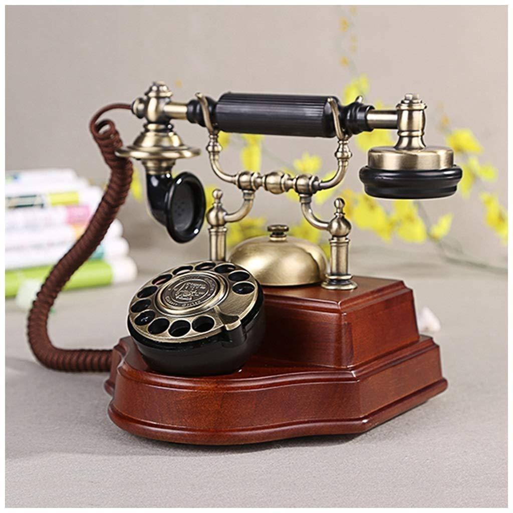 Retro Phone European Retro Wood Vintage Antique Home Office Fixed Landline Machine Mechanical Ringtones Telephones