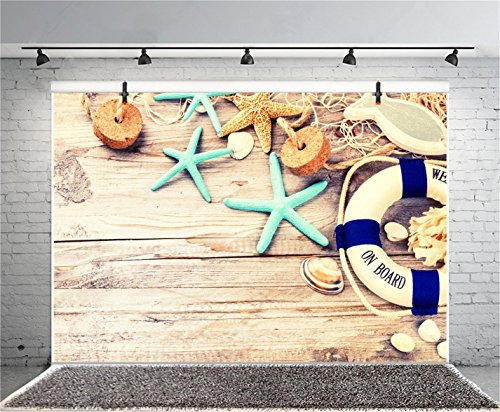 CSFOTO 6x4ft Background Lifebuoy Seashells On Deck Nautical Themed Birthday Party Invitation Photography Backdrop Banner Welcome on Board Child Kid Portrait Photo Studio Props Polyester Wallpaper by CSFOTO (Image #1)